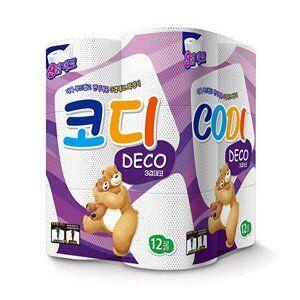 """Особомягкая туалетная бумага """"Codi Pure Deco"""" (трехслойная, с тиснёным рисунком) 27 м *12 рулонов"""