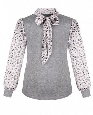 Серая школьная блузка для девочки с шифоном Цвет: серый