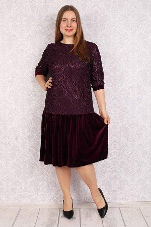 Платье женское бархатное - Дарья - сливовый