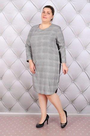 Платье женское - Пуговка - серый с черным