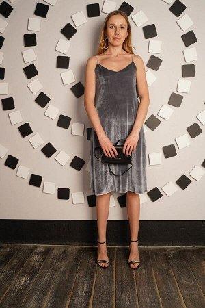 Платье бархатное бретель - Velvetti - 715 - серебро
