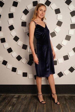 Платье бархатное бретель - Velvetti - 715 - синий