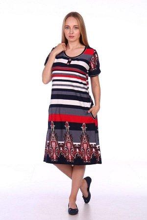 Платье в полоску с пуговицами - 138Н - узор