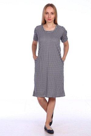 Платье клетчатое с узлом на спине - Ника - 409 - серый
