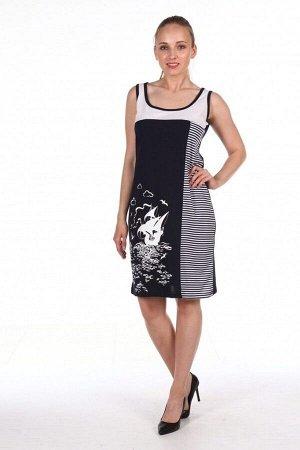 Платье-майка женское - Жемчужина - 141 - черный с белым