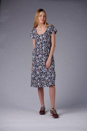 Платье с пуговицами и сборкой - Шанталь - 710 - персик