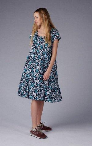 Платье с пуговицами и сборкой - Шанталь - 710 - голубой