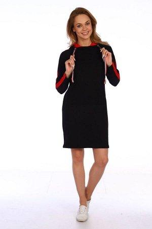 Платье женское в спортивном стиле - 427 - черный с красным