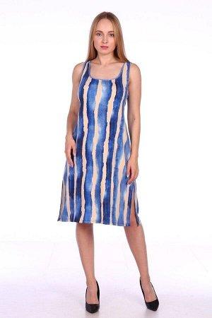 Сарафан женский из вискозы - 704 - бежево-синий