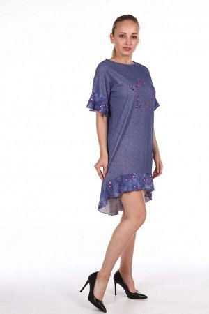 Платье женское с воланами - 308 - синий