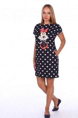 Платье женское из вискозы - 225 - черный