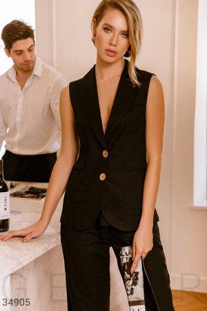 Льняной костюм черного цвета