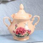 """Сахарница """"Камелия"""", персиковая, цветы, 0.5 л, микс"""