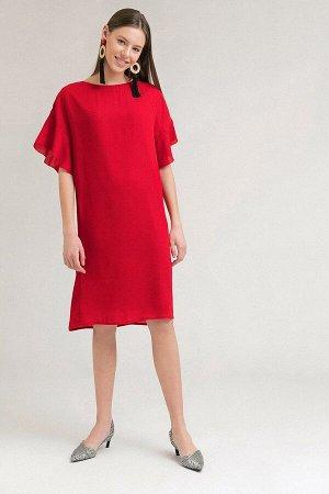 Платье с рюшами на рукавах