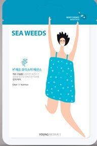 """""""Young Mediface (Sea weeds)"""" Тканевая маска-салфетка для лица детокс с эссенцией морских водорослей  25 мл"""