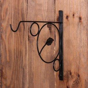 Кронштейн для кашпо, кованый, 30 см, металл, чёрный, «Листок»