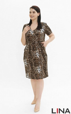 """Платье вискоза 66%, полиэстер 29%, эластан 5%. Платье приталенного силуэта, средней длины и """"V-образным"""" вырезом горловины, который отлично подчеркивает грудь. Рукава модели короткие, наличие подплечн"""