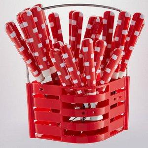 """BE-014P25/1 Набор стол. приборов 24 пр. в подставке """"Геометрия"""" красный (12)"""