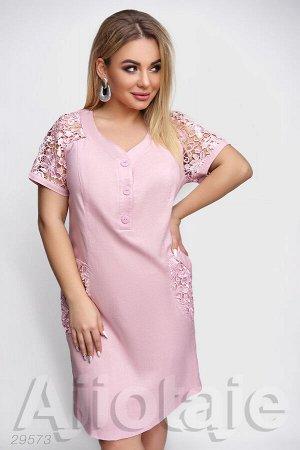 Льняное платье розового цвета с макраме
