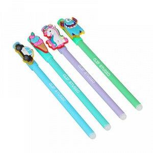 """Ручка гелевая """"Пиши - стирай"""", синяя, с резиновой фигуркой, 0,7мм, пластик, 4 цв. корпуса, 4 фигурки"""
