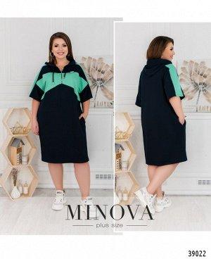 Платье №17-200-синий-ментол
