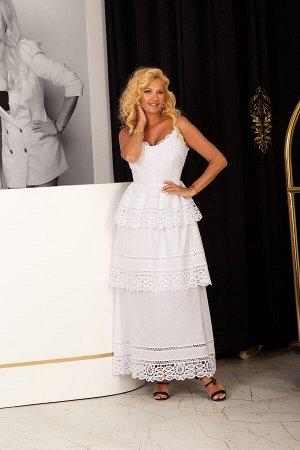 Платье Платье Vesnaletto 2224-2  Состав ткани: Хлопок-100%;  Рост: 164 см.  Платье на бретельках (длина регулируется), прилегающее по лифу, по низу присборенные воланы. Выполнено из хлопкового полотн