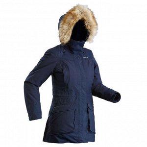 Парка теплая водонепроницаемая для походов SH500 U–WARM женская синяя QUECHUA