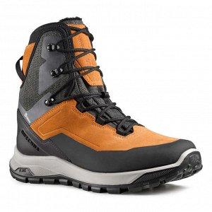 Ботинки кожаные теплые водонепроницаемые походные мужские SH500 U-WARM QUECHUA