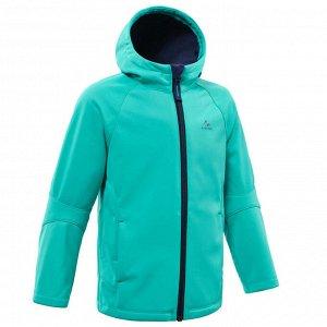 Куртка из софтшелла походная для детей 2–6 лет бирюзовая MH550 QUECHUA