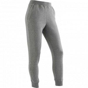 Спортивные брюки 100 зауженные для девочек серые DOMYOS