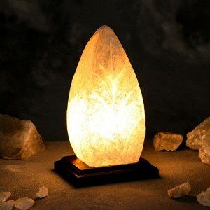 """Соляная лампа """"Лист"""", цельный кристалл, 21 см, 1-2 кг"""