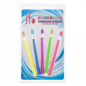 """Набор свечей в торт """"Цветное пламя"""". гиганты. 10.5х0.9см. 5 шт"""
