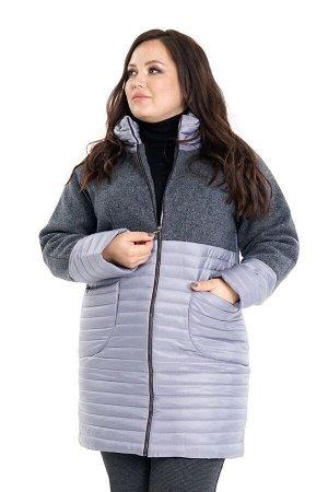 Куртка Материал: Болоньевая ткань, драп; Фасон: Куртка Куртка стеганая с драповым верхом серая Материал-Болоньевая ткань  ОГ-136 см, ОБ-140, длинна изделия по спинке-95 см. Состав ткани: 71%-Вискоза 2