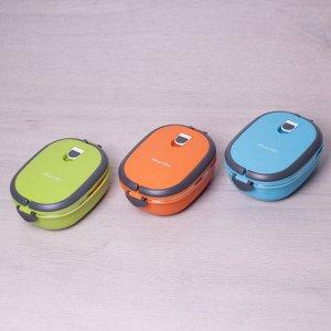 Ланч бокс • Материал: пластик, нержавеющая сталь. • Количество емкостей: 1. • Объем: 900мл. • Размеры: 20*14.5*7.5см. • Варианты цветов: голубой, салатовый, оранжевый. • Подходит для первых блюд: нет.