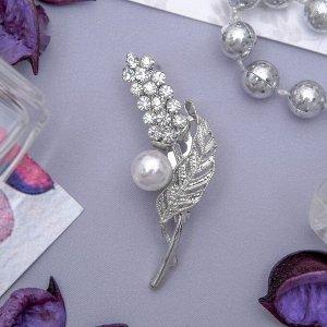 """Брошь """"Цветок"""" люпин, цвет белый в серебре"""
