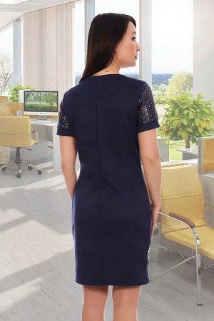 Платье Бренд Натали Ткань: эко-замша Платье приталенное из трикотажной замши, со вставками из перфорированной эко-кожи. Рукав короткий, длина изделия до колена. В характеристиках  указаны замеры по го
