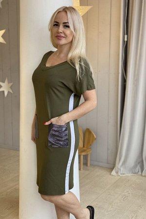 Платье ТКАНЬ: вискоза СОСТАВ: вискоза 92%, лайкра 8%Платье женское полуприлегающего силуэта. Рукав цельнокроенный, короткий. На полочке и спинке Y-образный вырез, на спинке фиксируется завязками. По б
