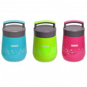 Термос пищевой 1400мл пластиковый со стеклянной колбой и 2 емкостями (розовый, голубой, зелёный)