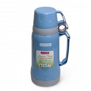 Термос 1000мл пластиковый со стеклянной колбой (2 чашки; синий, голубой, зелёный)
