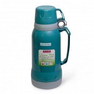 Термос 1800мл пластиковый со стеклянной колбой (синий, голубой, зеленый)