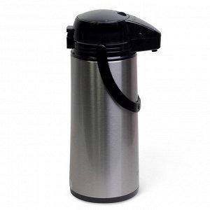 Термос 1900мл пластиковый со стеклянной колбой  (чёрный/серебро)