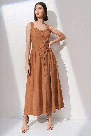 Сарафан 86 виск 14 пэ Рост: 170 см. Платье - сарафан из плательной ткани отрезное по линии талии со сборкой. Фигурный вырез горловины. Застежка центральная - петли пуговицы. Юбка в платье свободного к