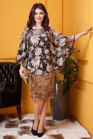 Коричневый Примечание: замеры длин соответствуют размеру 52, рост 164 см. Длина платья: 98 см. Длина накидки: 73 см. Длина рукава платья: нет. Длина рукава накидки: 43 см. Подкладка платья: нет. Подкл