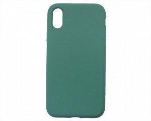 Чехол iPhone XR Liquid Silicone FULL (темно-зеленый)