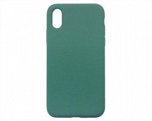 Чехол iPhone X/XS Liquid Silicone FULL (темно-зеленый)