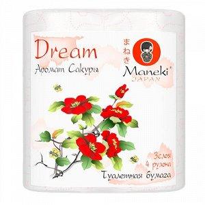 """Бумага туалетная """"Maneki"""", серия Dream, 3 слоя, 167 л., 23 м, с розовым тиснением и ароматом Сакуры 4 рулона/упаковка"""