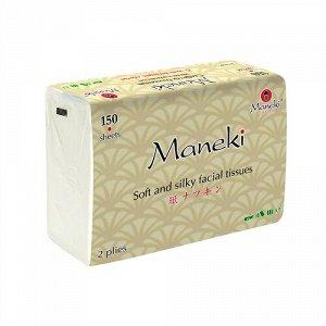 """Салфетки ,бумажные двухслойные в мягкой пачке """"Maneki""""  150 шт./упак"""