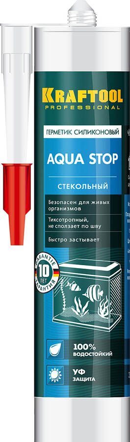"""Герметик KRAFTOOL KRAFTSeal GX107 """"AQUA STOP"""" силиконовый стекольный"""