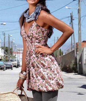 Платье, розово-пестрое