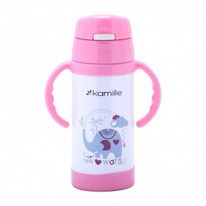 Термос для детей 350мл. с ручками (розовый, зелёный, синий)